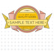 colored vector outline retro banner on gradient background. - stock illustration