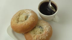 Sweet pastry and cup of black coffee Stock Footage