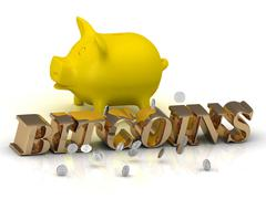 PIGGY and BITCOINS - bright gold letters and money on a white background Stock Illustration
