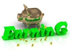 EARNING AND PIGGY - bright green letters and money on a white background Stock Illustration