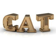 Stock Illustration of Cat - inscription of bright gold letters on white background