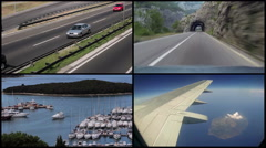 Video Collage With Travel And Transport Concept - stock footage