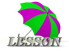 LESSON- inscription of silver letters and umbrella on white background.. Stock Illustration