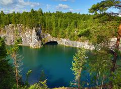 marble quarry in ruskeala - stock photo