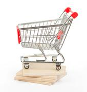 Stock Photo of Shopping cart on paving tiles