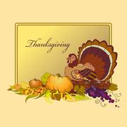 Thanksgiving celebration banner with turkey, pumpkin and corn Stock Illustration