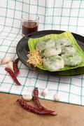 Allium Tuberosum pastry steaming - stock photo