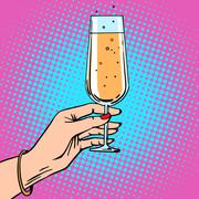 Toast a female hand with glass of champagne celebration party - stock illustration
