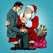 Christmas gift. Santa Claus and businessman Stock Illustration