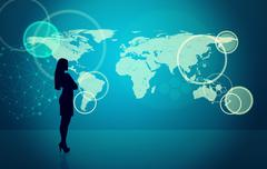 Businesswomans silhouette with molecule - stock photo