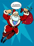 Stock Illustration of Santa Claus is flying with gifts like a superhero