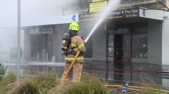 Fire fighting (Tilt Up) Stock Footage