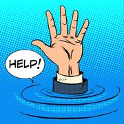 Hand sinking asks for help. Business concept - stock illustration