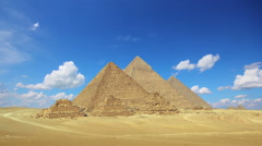 clouds over great pyramids at Giza Cairo in Egypt - stock footage