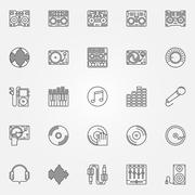 DJ linear icons set Stock Illustration