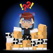 Confused businessman sitting on pile of documents Stock Illustration