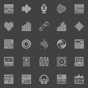 Musical studio linear icons - stock illustration