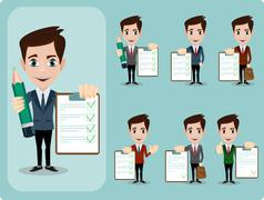 Friendly businessman leaning against contract blank, agreement giving the thumbs Stock Illustration