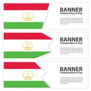 Tajikistan Flag banners collection independence day Stock Illustration