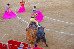 Lancer (bullfighter) wounding the bull during a bullfight - stock photo