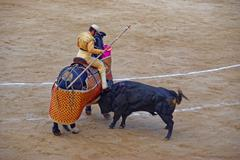 Bull is attacking the bullfighter during a corrida Stock Photos