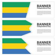 gabon Flag banners collection independence day - stock illustration
