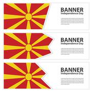 Macedonia  Flag banners collection independence day Stock Illustration