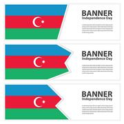 azerbaijan  Flag banners collection independence day - stock illustration