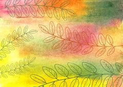 Hand drawn autumn leaves - stock illustration