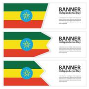 Ethiopia Flag banners collection independence day Stock Illustration