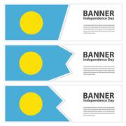 Palau Flag banners collection independence day Stock Illustration
