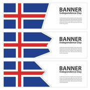 Iceland Flag banners collection independence day - stock illustration