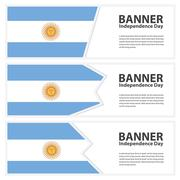 argentina  Flag banners collection independence day - stock illustration