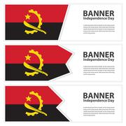 Angola  Flag banners collection independence day - stock illustration
