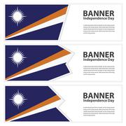Marshall Islands Flag banners collection independence day Stock Illustration