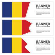 romania Flag banners collection independence day - stock illustration
