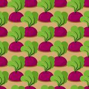 Beet seamless pattern. Plantation beets with haulm vector background. Garden  Stock Illustration