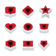 albania flags icons and button set nine styles - stock illustration