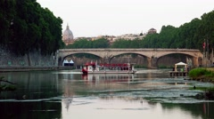 Stock Video Footage of ULTRA HD 4K real time shot,The bridge over Tiber river, Rome