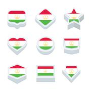 Tajikistan flags icons and button set nine styles - stock illustration