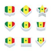 senegal flags icons and button set nine styles - stock illustration