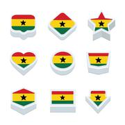ghana flags icons and button set nine styles - stock illustration