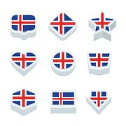 Iceland flags icons and button set nine styles - stock illustration