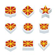 macedonia flags icons and button set nine styles - stock illustration