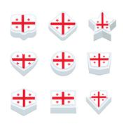 Stock Illustration of georgia flags icons and button set nine styles