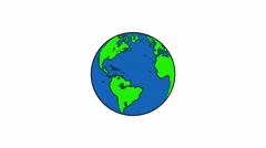 4k Spinning Earth on White Background Animation Seamless Loop. Cartoon Style Stock Footage