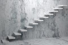 Ascending stairs of rising staircase in dark rough empty room 3d illustration - stock illustration