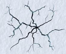 Cracks in snow surface of cracked glacier Stock Illustration