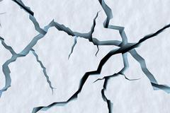 Cracks in snow surface of cracked glacier top view Stock Illustration
