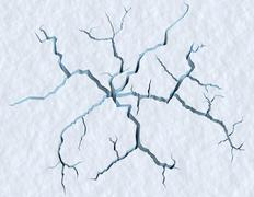 Cracks in the snow surface of cracked glacier Stock Illustration